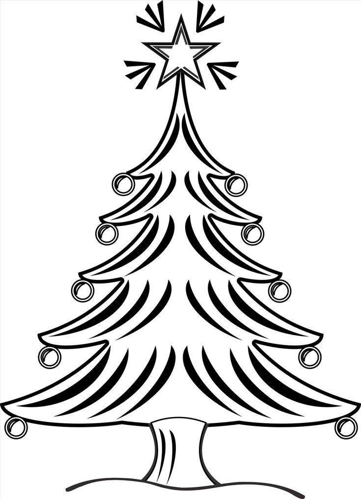 735x1016 26 Best Merry Christmas Tree Drawing Images