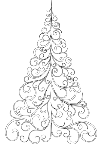 339x480 Swirly Christmas Tree Coloring Page Free Printable Coloring Pages