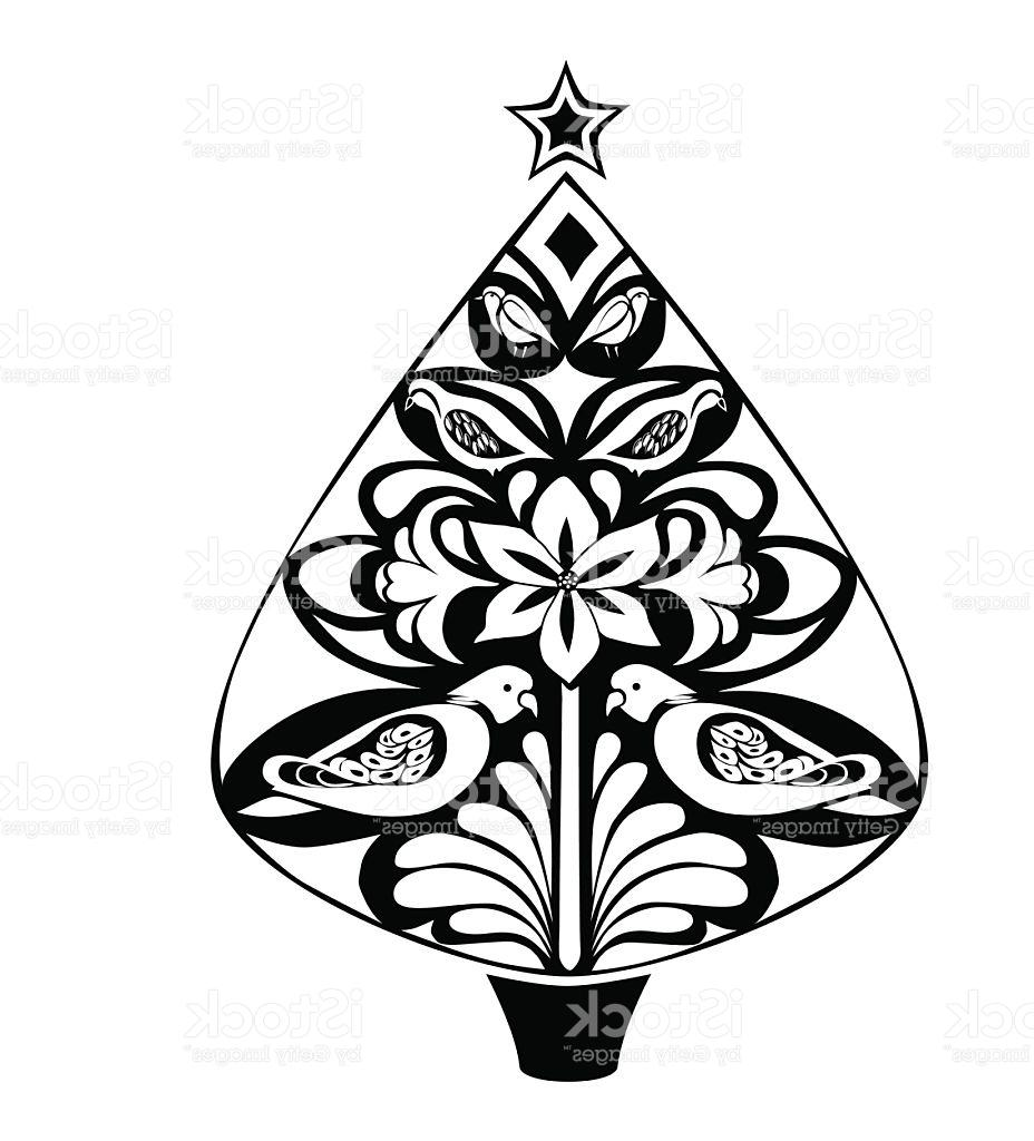 928x1024 Unique Stylistic Black And White Christmas Tree Vector Design