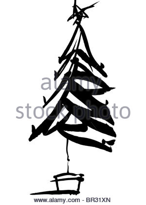 300x420 A Black And White Drawing Of A Whimsical Christmas Tree Stock