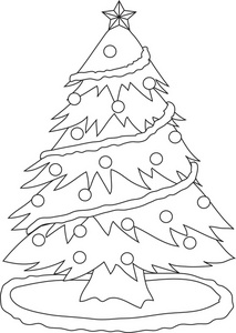 213x300 Christmas Tree Scenery Clipart Black And White
