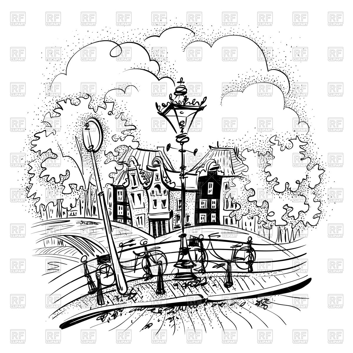 1200x1200 Black And White Hand Drawing City View Of Amsterdam Royalty Free