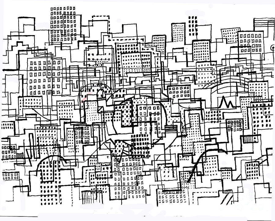 900x724 City Lines 3 Drawing By Andy Mercer