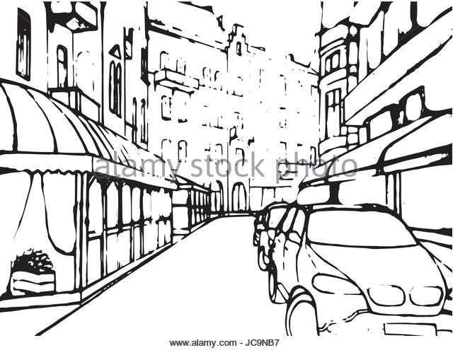 640x495 Cityscape Drawing Design Vector Illustration Stock Photos