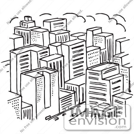 450x450 Clipart Of A City In Black And White