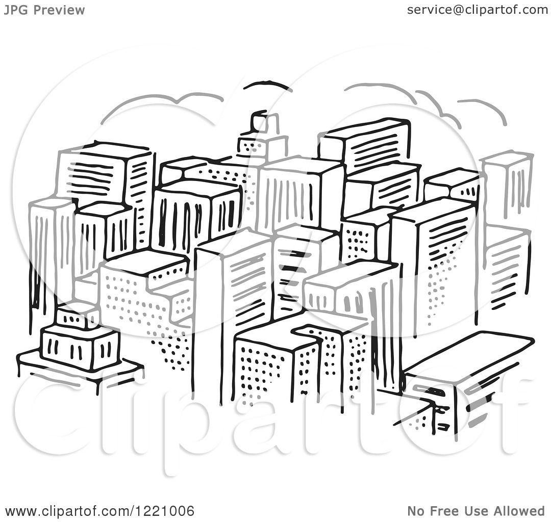 1080x1024 Clipart Of A Black And White City Of Skyscrapers