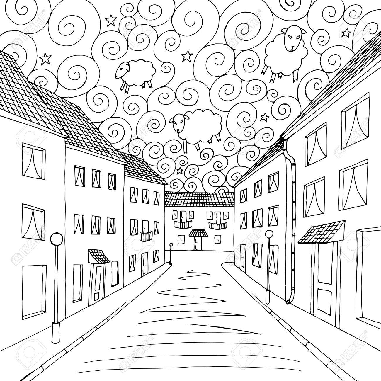 1300x1300 Dreams City Graphic Art Black White Illustration Vector Royalty