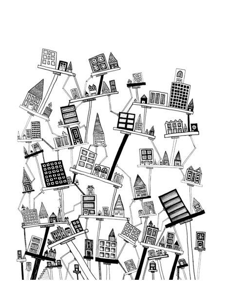 462x597 Original Drawing Angled City