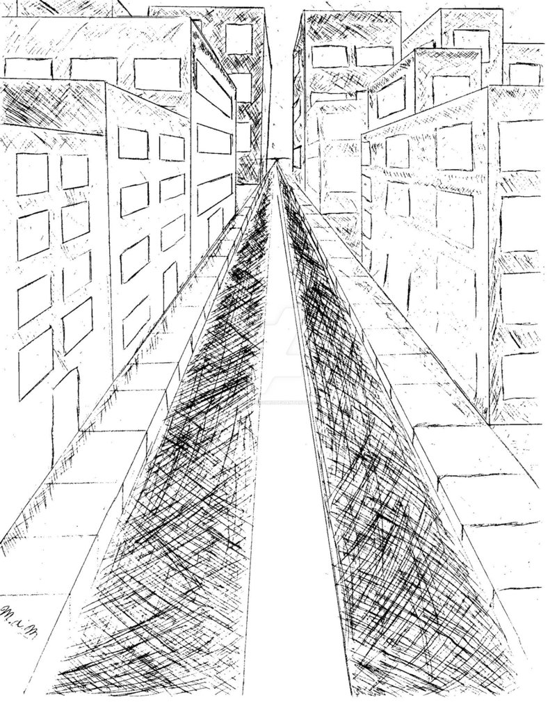 791x1009 Perspective City Drawing By Zemushroom17