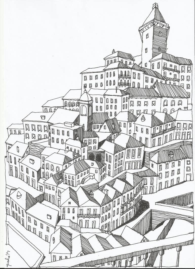 770x1059 Saatchi Art Virtual Old City Drawing By Telmo Quadros Ferreira