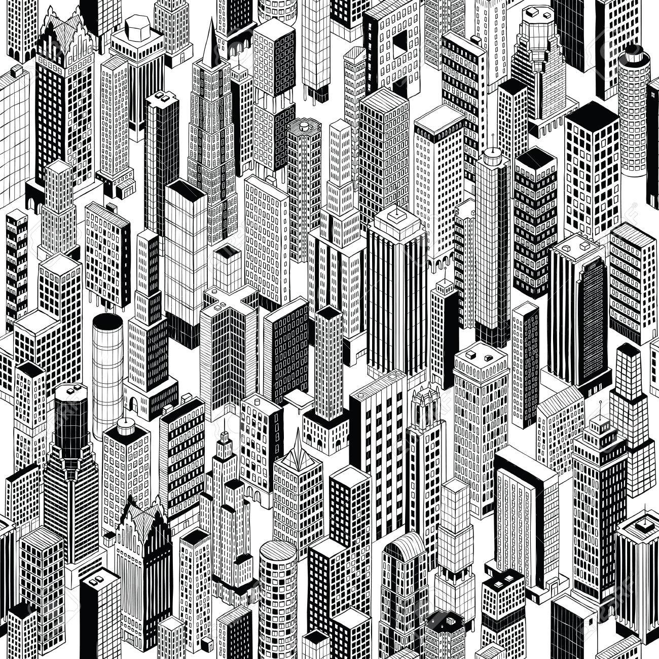 1300x1300 Skyscraper City Seamless Pattern Is Hand Drawing Of Different