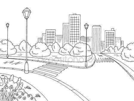 449x337 Street Road Graphic Black White City Landscape Sketch Illustration