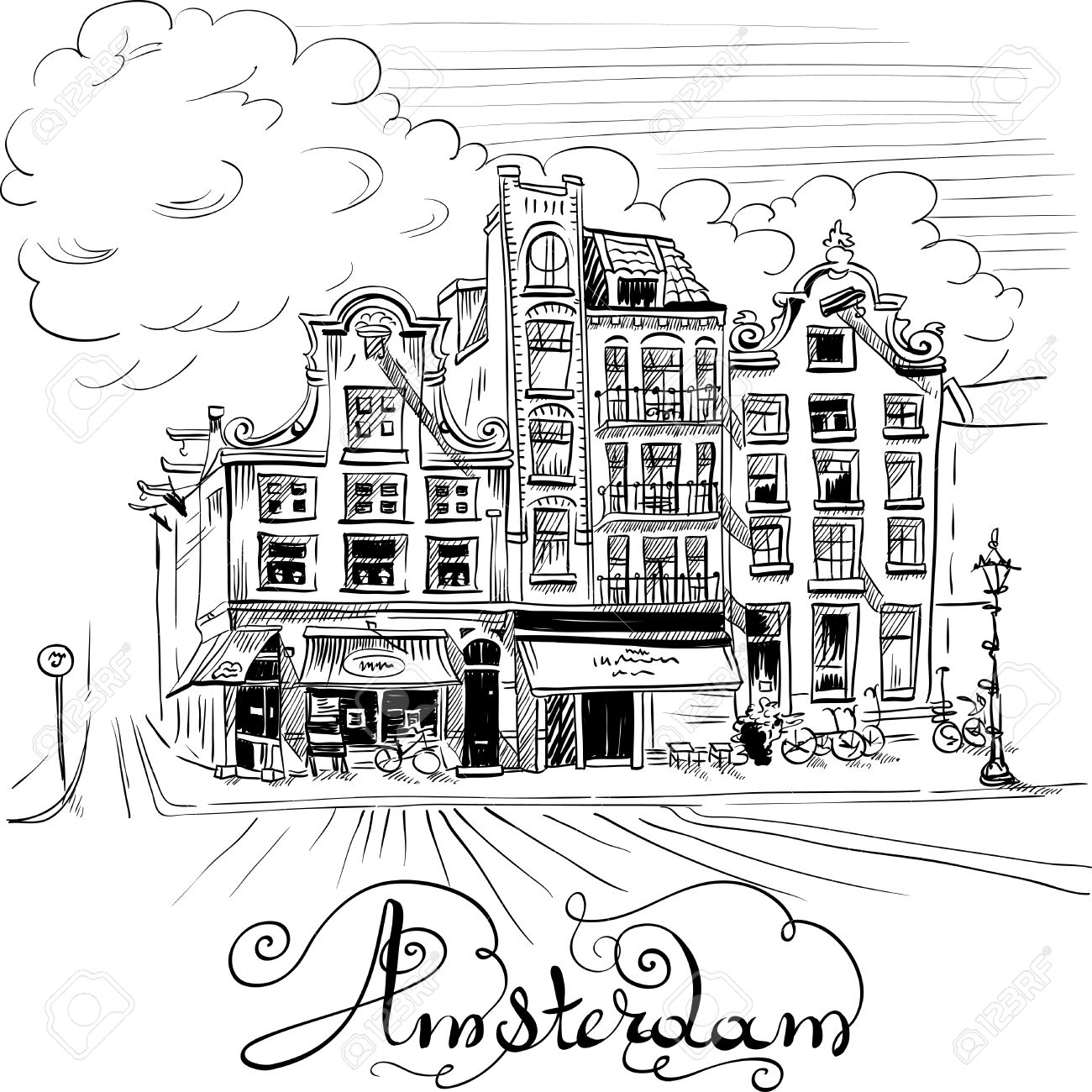 1300x1300 Black And White Hand Drawing, City View Of Amsterdam Typical