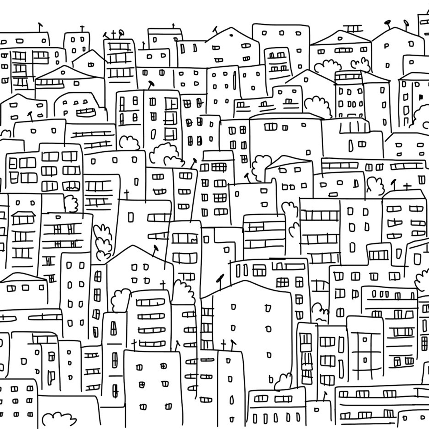 1500x1500 Black And White City Sketch Wall Mural Eazywallz