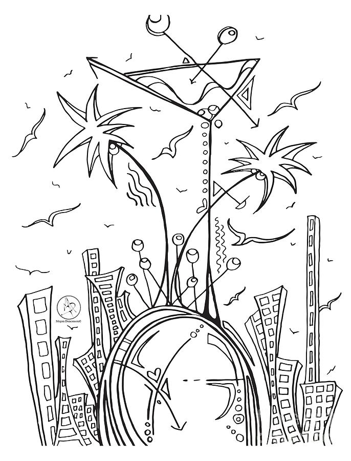 686x900 Coloring Page With Beautiful City Martini Drawing By Megan