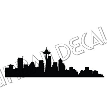 355x355 Seattle Skyline Decal, Vinyl Sticker For Car Window