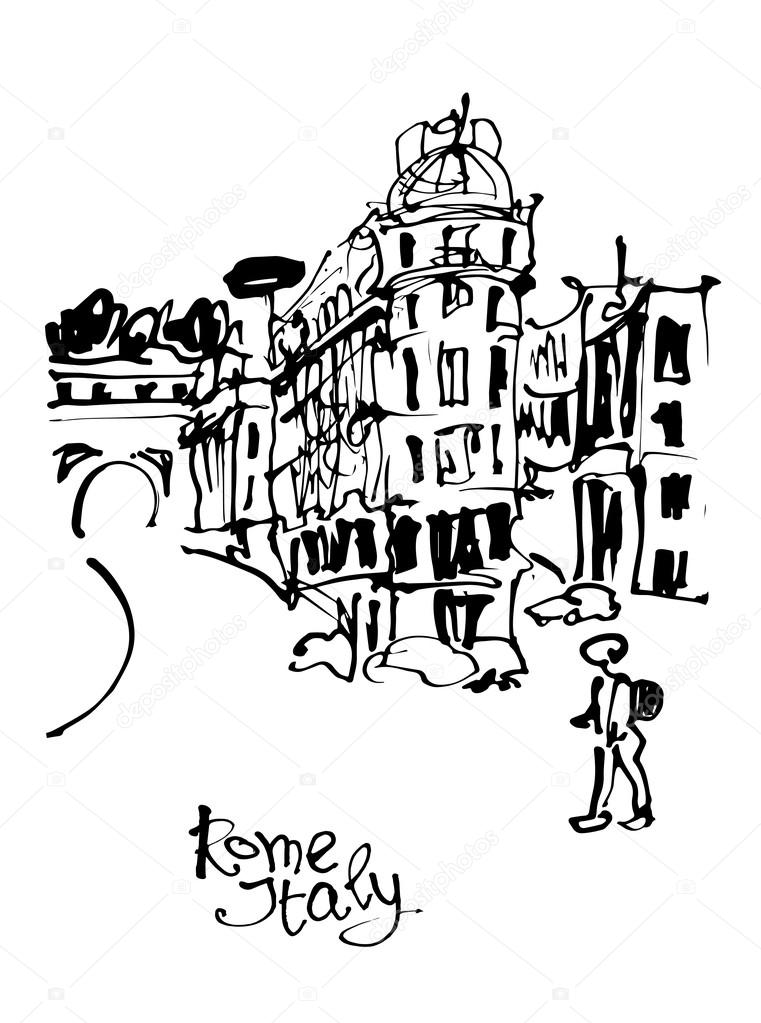 761x1023 Black And White Sketch Hand Drawing Of Rome Italy Famous Citysca