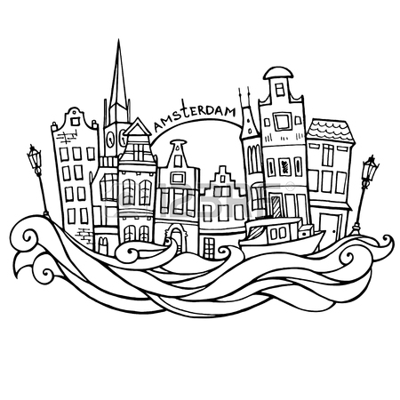 450x450 Background With Hand Drawn Doodle Amsterdam Houses. Cityscape