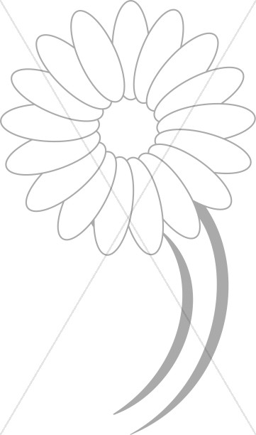 361x612 Dancing Daisy Line Drawing Church Flower Clipart