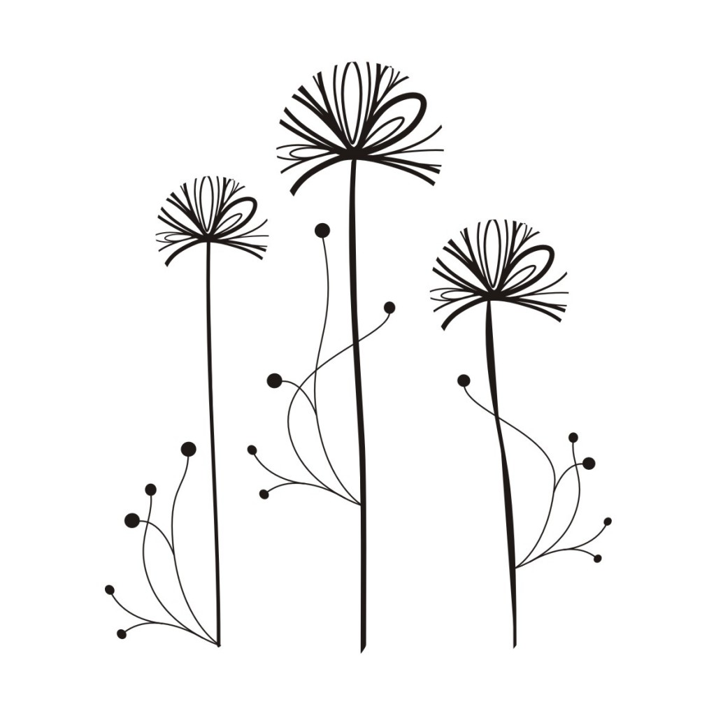 1024x1024 Dandelion Drawing Dandelion Drawing Black And White Image