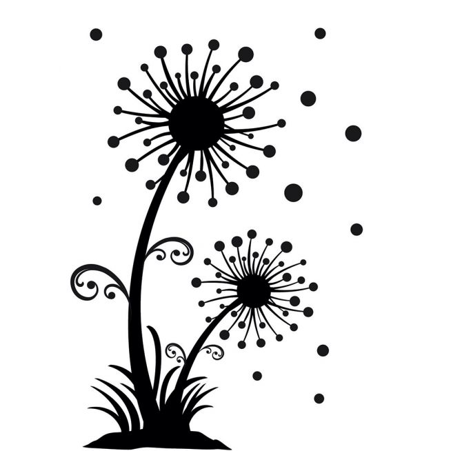 654x654 Pics For Gt Black And White Dandelion Drawing Canvas Art