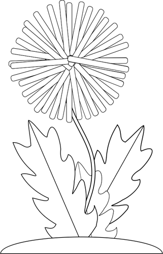 321x500 Vector Drawing Of Dandelion Flower For Color Book Public Domain
