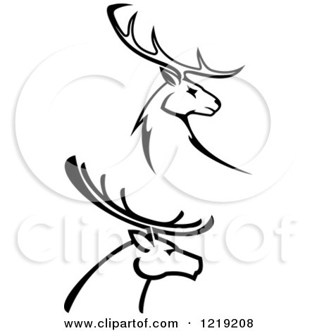 450x470 Clipart Of Black And White Deer With Antlers