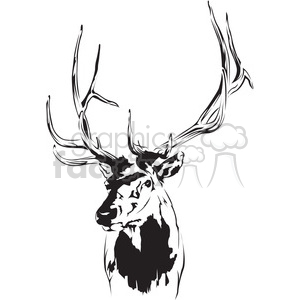 300x300 Royalty Free Black And White Deer 394986 Vector Clip Art Image