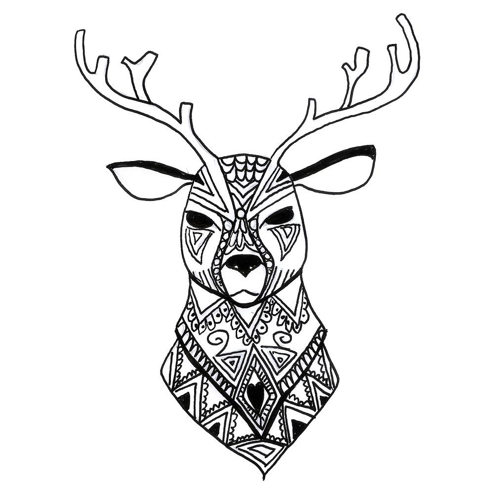 1000x1000 Black And White Deer Animal Art Design By Highartdesigns Redbubble