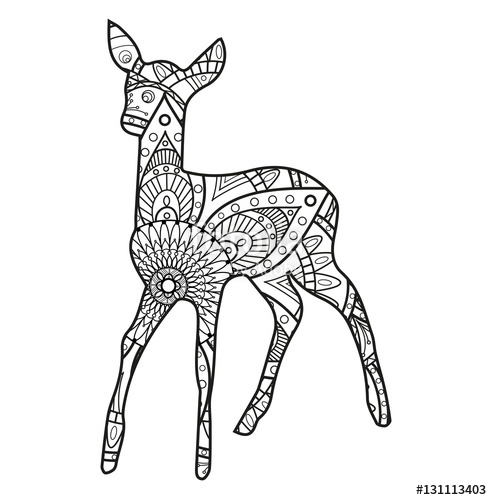 492x500 Vector Illustration Of A Black And White Deer Mandala For Coloring