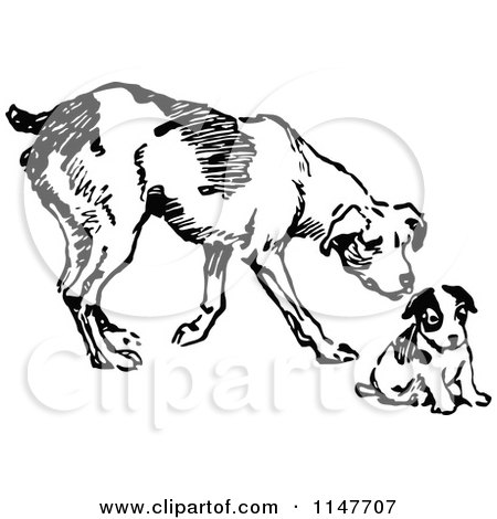 450x470 Clipart Of A Retro Vintage Black And White Dog And Puppy