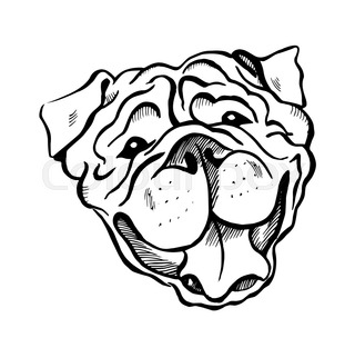 320x313 Graphic Black And White Dog Face Drawing With Text. Stock Vector