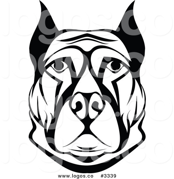 600x620 Royalty Free Vector Of A Black And White Dog Face Logo By Vector