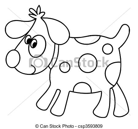 450x419 Spot The Dog. Black And White Illustration Of A Dog With Stock