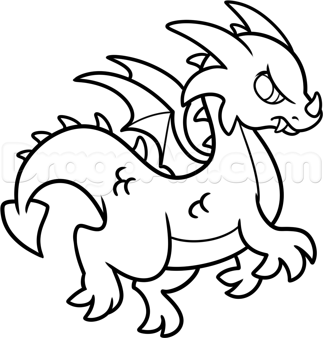 1096x1146 Dragon Easy Drawing How To Draw A Simple Dragon, Stepstep, Dragons