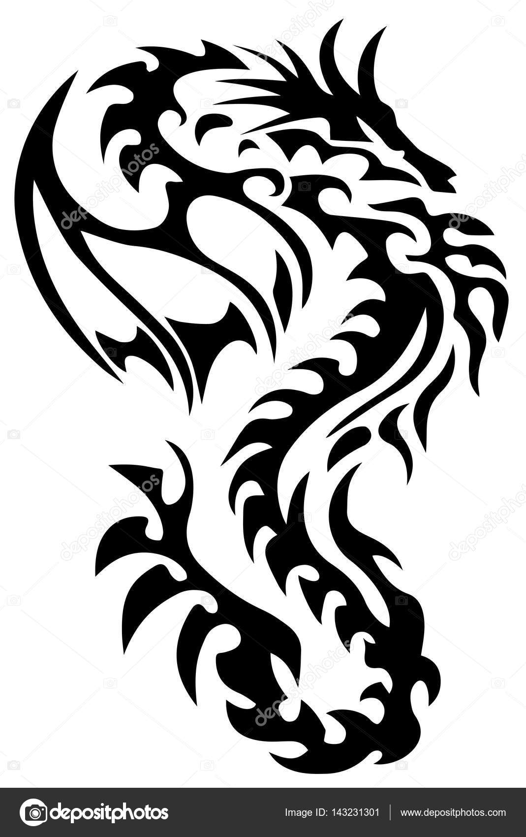 1069x1700 Dragon Tattoo Tribal Dragon Black And White Dragon Tattoo Eps 10