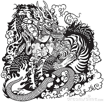 400x391 Dragon And Tiger Fighting, Black And White Tattoo Illustration