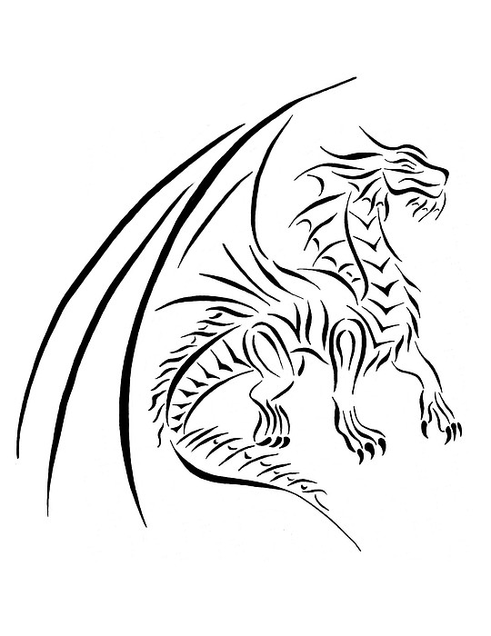 540x700 Medievil Dragon Tribal Line Black White Digital Art By Tina Barnash