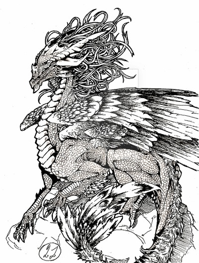 400x529 Phoenix Dragon Old Art By Black Wing24
