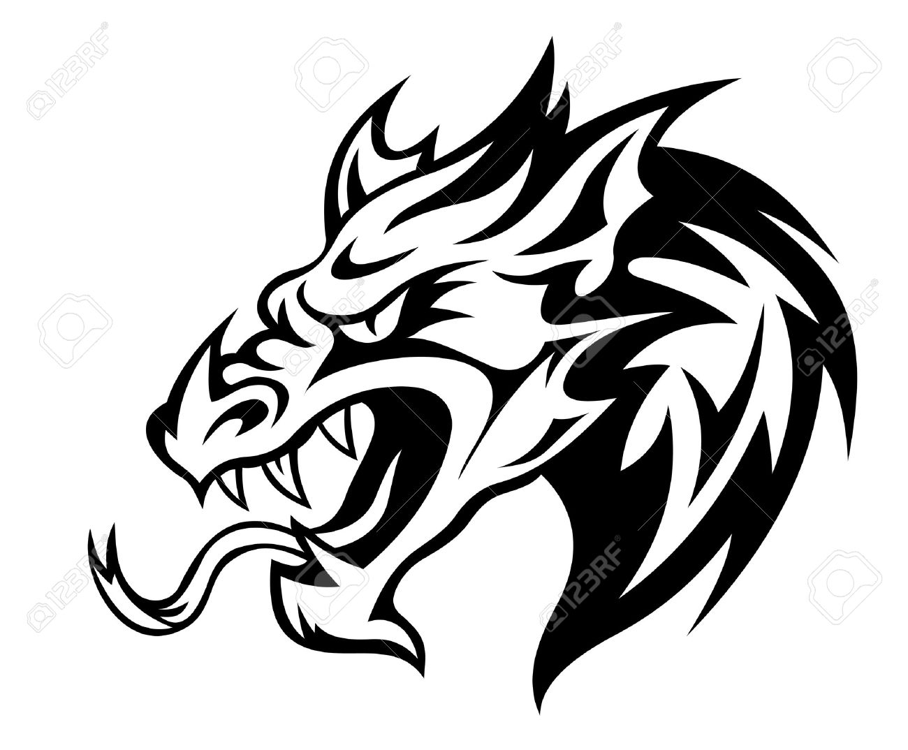 Black And White Dragon Drawing At Getdrawings Com Free For