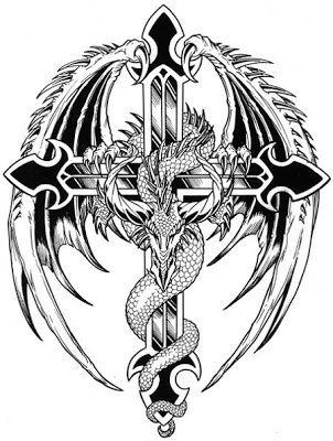 302x400 Black And White Cross Tattoos Asian Dragon Tattoos On Winged