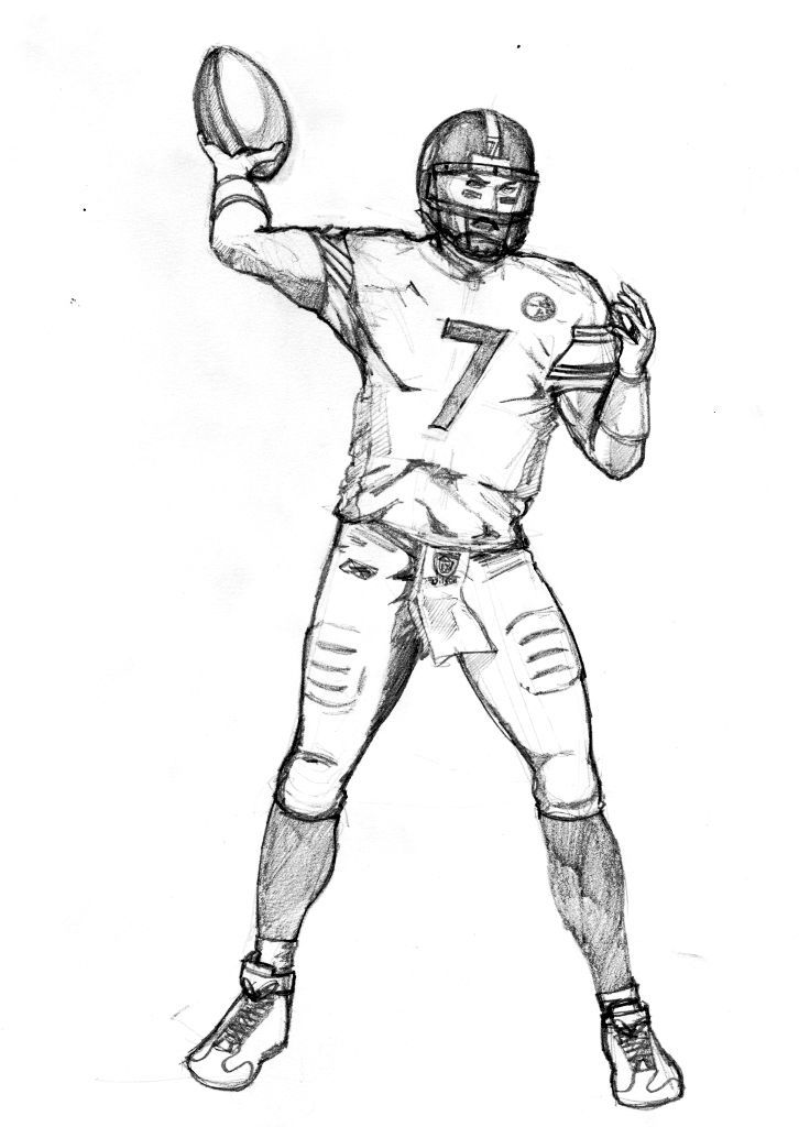 726x1024 Drawing Of A Football Player Group