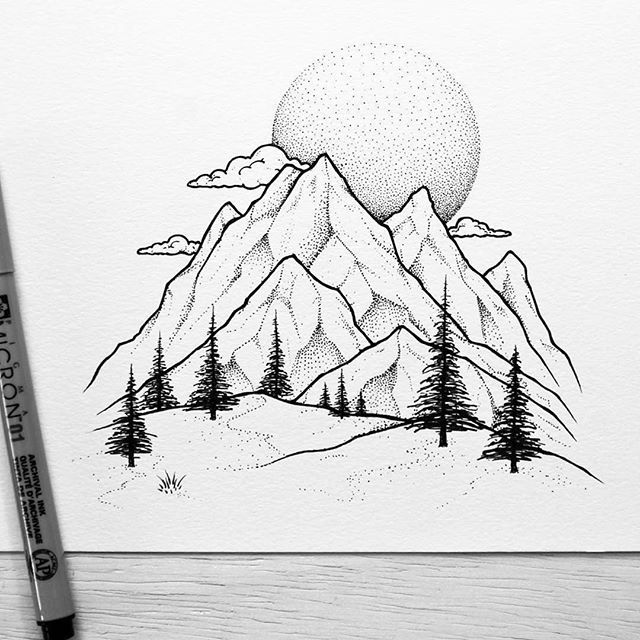 640x640 The Detail Of Trees And Dot Work On Mountains Moon