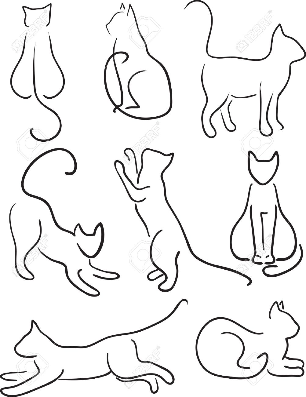 1002x1300 Silhouette Of Cats Cat Design Set Line Art Royalty Free Cliparts