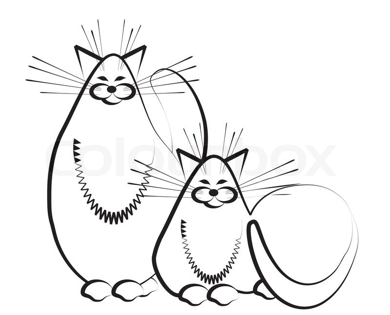800x647 Two Cats Sketch Stock Vector Colourbox