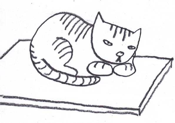 595x418 Black And White Clipart Images Of A Cat Sitting On A Mat Collection