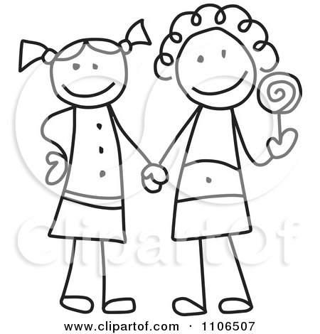 450x470 Clipart Black And White Stick Drawing Of Two Best Friend Girls