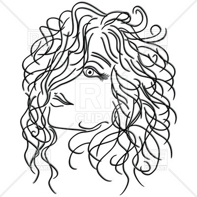 400x400 Girl With Flowing Curly Hair, Sketch Royalty Free Vector Clip Art