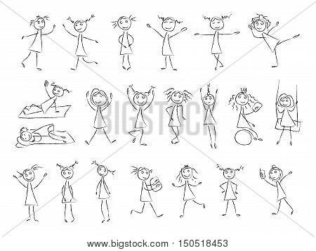 450x357 Sketch Drawing Little Girls Vector Amp Photo Bigstock