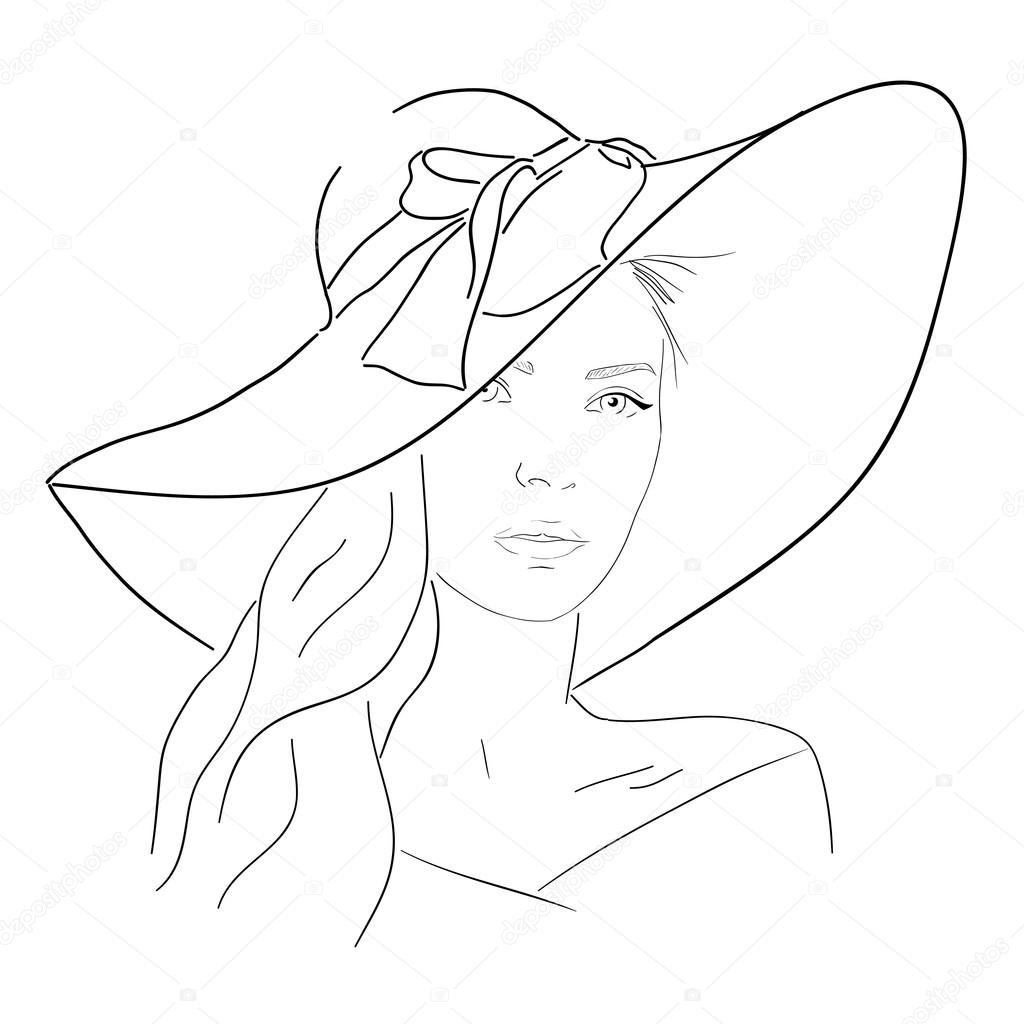 1024x1024 Young Pretty Woman In Hat Line Portrait. Romantic Outline Sketch